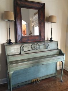 Piano hand painted with robins egg blue chalk paint and dark wax by Annie Sloan for client. #theshabbybee