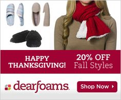 Win a pair of Dearfoams slippers of your choice.  Enter here: http://www.inspiredbysavannah.com/2012/11/win-pair-of-dearfoams-slippers-of-your.html  Ends 12/15.