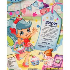 Meet Jessicake the cupcake themed Shoppie from Shopkins! They will be available starting October in US stores, but they have already been spotted on TRU shelves in California! Shoppies Dolls, Shopkins And Shoppies, 10th Birthday Parties, 7th Birthday, Birthday Ideas, Shopkins Season, Moose Toys, Fun Projects For Kids, All Things Cute