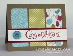 Congratulations Baby Designer Paper Panel Card for Crazy Crafters Blog Hop #stampinup www.juliedavison.com