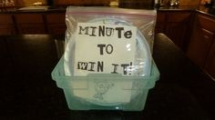 Minute to Win It Classroom Ideas  --she is very smart to put all of the materials into a tub so that she can reuse when need be!