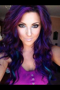 My next style dark brunette with purple and blue highlights!