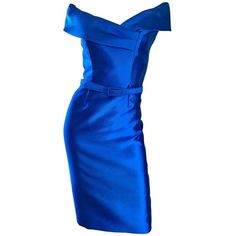 Preowned Catherine Regehr Saks 5th Ave Royal Blue Silk Off - Shoulder... ($1,550) ❤ liked on Polyvore featuring dresses, blue, cocktail dresses, form fitted dresses, royal blue cocktail dress, off the shoulder dress, blue off the shoulder dress and royal blue dress