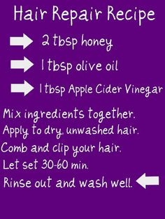 hair repair recipe....for the kid who can't do shampoo/conditioner??