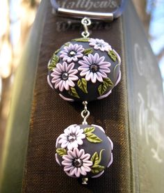 Moobie Grace - Necklace - Polymer Clay - Embroidered - Flowers - Crystals - Gray - Pink - Free Shipping. $35.00, via Etsy.