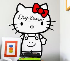 """HELLO KITTY BLIK X DRY ERASE WALL DECALS :: Blik has teamed up with Sanrio to bring you these two dry erase boards made with Blik Re-Stik. 2 decals (25.25""""H x 21.75""""W for standing Hello Kitty (pictured) & 20.75""""H x 21""""W for sitting Hello Kitty)."""