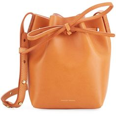 Mansur Gavriel Vegetable-Tanned Leather Mini Mini Bucket Bag ($395) ❤ liked on Polyvore featuring bags, handbags, shoulder bags, rose, red purse, leather handbags, tan leather handbags, leather shoulder handbags and mini bucket bag