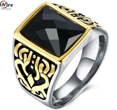 NFS Vintage Look Black Stone Luxury Men Wedding Ring Punk Style Pattern Ring For Male Jewelry #Affiliate
