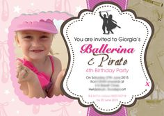 Little girl's pirates and ballerinas party einvite Girls 4, Little Girls, Ballerina Party, Young At Heart, You Are Invited, 4th Birthday Parties, Bar Mitzvah, Sweet Sixteen, Ballerinas