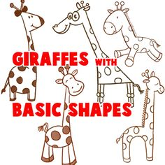 big guide to drawing cartoon giraffes with basic shapes for kids love these basic shape tutorials - Basic Drawings For Kids