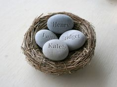 Customized Mothers day gifts - set of 4 personalized engraved name stones in nest - Moms Nest