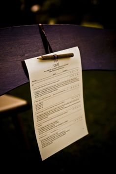 School Teacher Wedding Ideas A Pop Quiz Ceremony Program Table