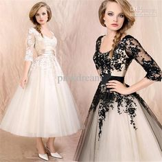 Wholesale A-Line Wedding Dresses - Buy Elegant A Line V Neck Half Sleeves Appliques Ankle Length Bridal Gown Lace Up Corset Fashion Organza Wedding Dresses, $115.0 | DHgate