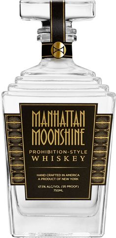 Manhattan Moonshine Prohibition-Style Whiskey.  This #whiskey is made from a unique four-grain mashbill led by oats and rye, and comes in an elegant 1920s style glass decanter. | @Caskers