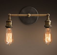 Spare Bath - 20th C. Factory Filament Bare Bulb Double Sconce - Aged Steel