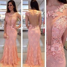 pink prom dress,lace prom dress,see through back prom dress,cap sleeves prom dress,long evening Prom Dresses 2017, Party Dresses, Formal Dresses, Formal Prom, Long Dresses, Sheer Dress, Lace Dress, Mermaid Prom Dresses Lace, Lace Mermaid