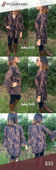Dress me up tops Great addition to your fall wardrobe. Top has a great print and can be dressed up or down. Price is firm! S(2/4) M(6/8) L(10/12)                               Small bust 38' Medium bust 40' Large bust 42' Model is wearing small Tops