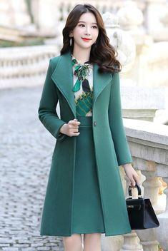 Elegant A Lapel Slim fit Cotton Coat - Fashion & Dresses Stylish Dresses, Elegant Dresses, Pretty Dresses, Stylish Outfits, Stylish Clothes, Girls Fashion Clothes, Girl Fashion, Fashion Outfits, Clothes For Women