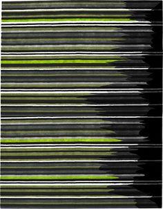 modernrugs.com green gray white black striped rug (GUEST BEDROOM/BATH)