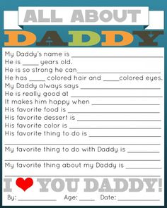 All About Daddy questionnaire. Free printable!