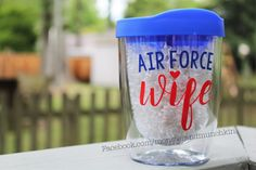 Air Force Wife, Wine tumbler, Military Wife, Military Spouse, Air Force, USAF, Military Girlfriend, Monogram, I love my airman, USAF Wife by MonsterAndMunchkin on Etsy