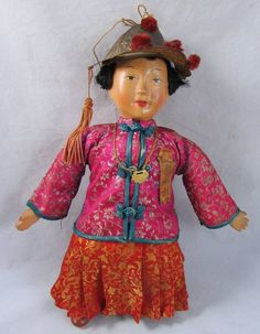 Vintage 11' Chinese Character Lady Doll Compo Artist Michael Lee Hong Kong #DollswithClothingAccessories