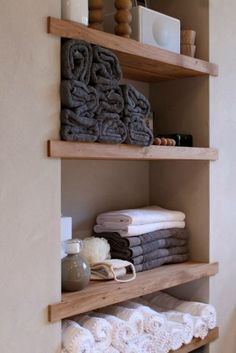Small Space Solutions: Recessed Storage - Houses, Home, Interior - Bathroom Decor Bathroom Inspiration, Affordable Decor, Decor, Wood Shelves, Small Space Solutions, Recessed Storage, Small Space Storage, Bathroom Trends, Home Decor