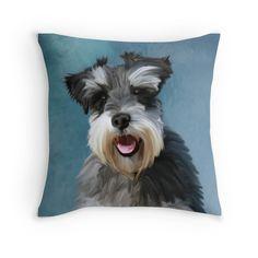 #MiniatureSchnauzer Water Color #Art #Painting #pillow #dog #animal #pet