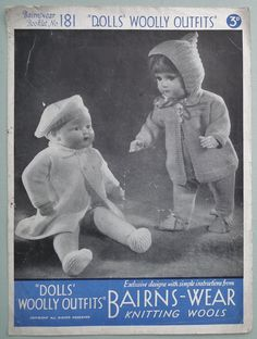 Vintage 1930s Knitting Pattern  Dolls' Woolly by sewmuchfrippery