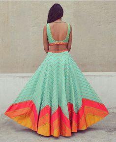 Mint lehenga with pink zig zag lines - back - Priyal Prakash Summer 2016 collection Choli Designs, Lehenga Designs, Kurta Designs, Blouse Back Neck Designs, Blouse Designs, Indian Attire, Indian Wear, Indian Style, Indian Dresses