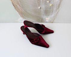Laura Ashley Burgundy  Velvet Vegan Leather Mules Women Kitten Heel Shoes Summer Shoes EUR 39 UK 6 US 8,5
