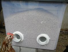 No-Waste feeder! DIY No Waste Feeder (might try this with buckets instead, since I have some of those.)DIY No Waste Feeder (might try this with buckets instead, since I have some of those. Portable Chicken Coop, Backyard Chicken Coops, Chicken Coop Plans, Building A Chicken Coop, Diy Chicken Coop, Chickens Backyard, Chicken Barn, Chicken Tractors, Chicken Houses