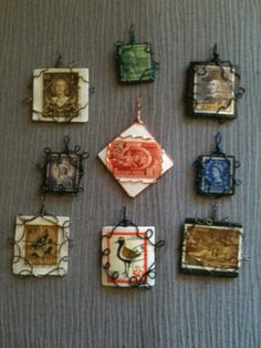 Vintage postage stamps turned into pendants