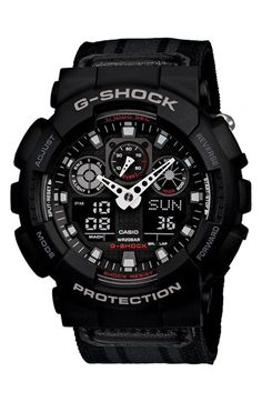 G-Shock 'XL Ana-Digi' Nylon Strap Watch, 55mm | Nordstrom