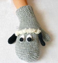 Sheep Lamb Crochet Gloves Mittens Animal Puppet by 2HandMade