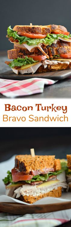 Bacon Turkey Bravo Sandwich on Tomato Basil Bread with crispy bacon, Gouda cheese, sliced turkey, lettuce, and tomato is perfect for just about any meal! COPYRIGHT © 2017 COOKING WITH CURLS