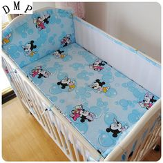 Promotion! 5PCS mesh cartoon Baby Nursery Care Baby Bedding Set 100% Cotton Nursery Cot Bed ,include:(4bumper+sheet) #Affiliate