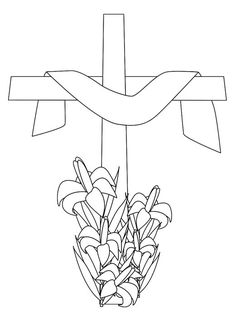 Easter cross coloring page, draped Christian cross with Easter lily flowers printable coloring sheet. Cross Coloring Page, Spring Coloring Pages, Easter Coloring Pages, Coloring Sheets For Kids, Colouring Pages, Adult Coloring, Coloring Books, Free Coloring, Easter Pictures