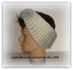 Heandband vintage bandeau de cheveux serre tête cache oreilles  bandeau  blanc et gris bandeau femme hiver fait main au crochet e086c55335a