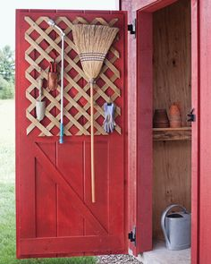 For storing everyday garden and home tools, wood lattice is even handier than a basic trellis. Choose a heavy-duty variety, sold in sheets at hardware stores and lumberyards, and screw it onto a door using spacers. Then hang implements from S hooks, which fit snugly in the diamond framework. For items that can't be hung, attach broom clamps or suspend binder clips from hook.