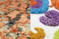 Handmade Rug Production Samples for CONFETTI, designed by Chiaozza for RUG YOUR CITY, a Kickstarter project to produce handmade rugs inspired by modern cities.  CONFETTI was designed as a texturized hand-knotted rug. This image is an example of the type of weaving and style backers can expect to see produced.