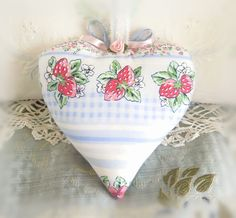 Heart Pillow 6 X 6 Door Hanger Floral & Berries by CharlotteStyle
