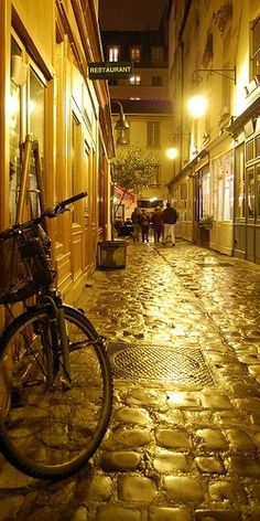 Cobblestone Street, Paris, France in gold light photo via chisato Oh The Places You'll Go, Places To Travel, Places To Visit, Paris France, Famous Castles, Paris Ville, France Travel, Belle Photo, Wonders Of The World