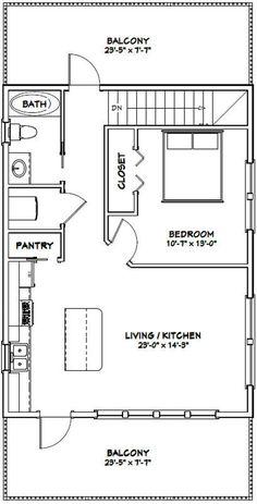Plans Loft, Loft Floor Plans, Small House Floor Plans, Cabin Plans, Garage Apartment Floor Plans, Garage Plans, Car Garage, 1 Bedroom House Plans, Garage House