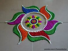 Beautiful multicolored rangoli for diwali | Easy and innovative rangoli designs by Poonam Borkar - YouTube