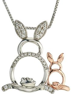 516d17e4a Ever One Rose Gold and Sterling Silver TDW Diamond Rabbit Mom and Child  Necklace By, Adult Unisex, Size: 18 inch, Pink. Animal Inspired Jewelry
