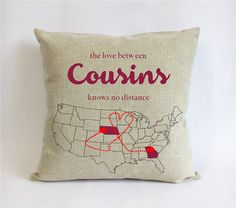 long distance cousins pillowcase-burlap gift for big by Pillow6218