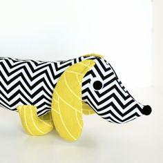 Items similar to Wiener Dog Plush Dachshund Toy Soft Doll Stuffed Animal Black and White WAYLON on Etsy