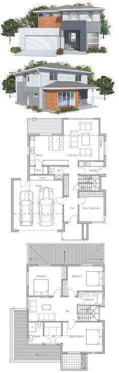 Perfecta! 1 dormitorio planta baja, y 3 arriba... Cambiar posición de cama en dormitorio principal para ganar otro armario #modernhousearchitecture
