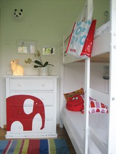 cute, graphic idea for dresser..I am painting mine white...wonder what I could do?